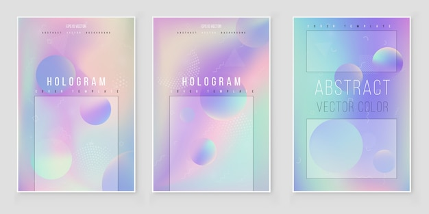 Abstract holographic iridescent background set modern style trends 80s 90s