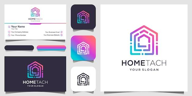 Абстрактный дом технологии с логотипом в стиле арт-линии и визитной карточкой