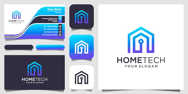 Abstract home tech with line art style logo and business card design