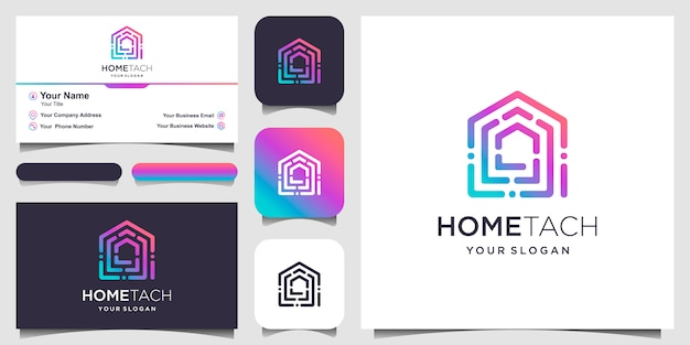 Abstract home tech with line art style logo and business card