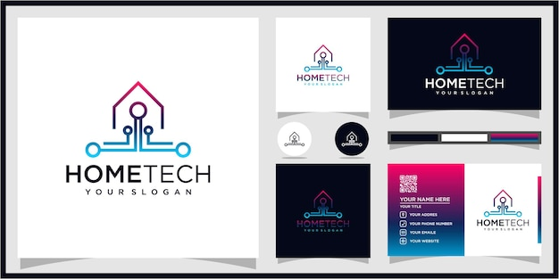 Abstract home tech with line art style logo premium vector