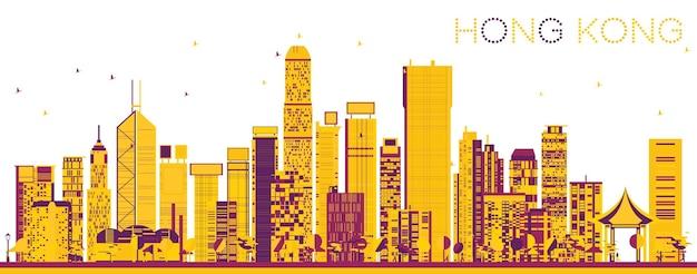 색상 건물 추상 홍콩 중국 스카이 라인. 벡터 일러스트 레이 션. 현대 건축과 비즈니스 여행 및 관광 개념입니다. 랜드마크가 있는 홍콩 풍경.