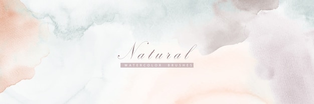 Abstract horizontal background designed with earth tone color watercolor stains.