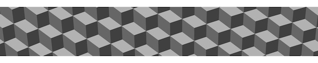 Abstract horizontal banner or background of big isometric cubes in gray colors.