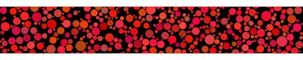 Abstract horizontal banner of circles of different sizes in shades of red colors on black background