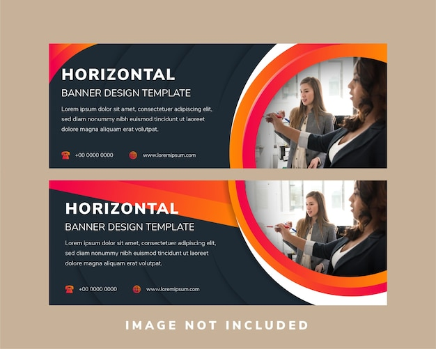 Abstract horizontal banner design use quarter circle space for photo.