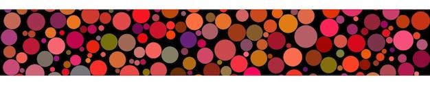 黒の背景に赤い色の色合いでさまざまなサイズの円の抽象的な水平バナー