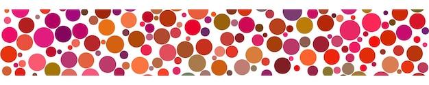白い背景の上の赤い色の色合いでさまざまなサイズの円の抽象的な水平バナー
