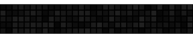 Абстрактный горизонтальный баннер или фон из больших квадратов или пикселей в черном цвете.