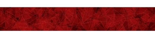 빨간색으로 윤곽선이 있는 무작위로 분포된 반투명 삼각형의 추상 가로 배너 또는 배경.