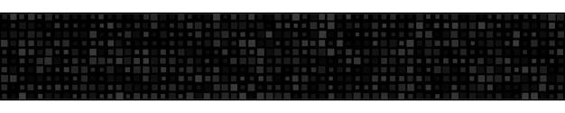 검은 색으로 다양한 크기의 작은 정사각형 또는 픽셀의 추상 가로 배너 또는 배경.