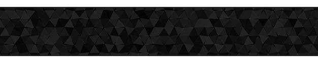 黒い色の小さな三角形の抽象的な水平バナーまたは背景。
