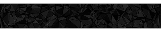 Абстрактный горизонтальный баннер или фон из треугольников черного цвета.