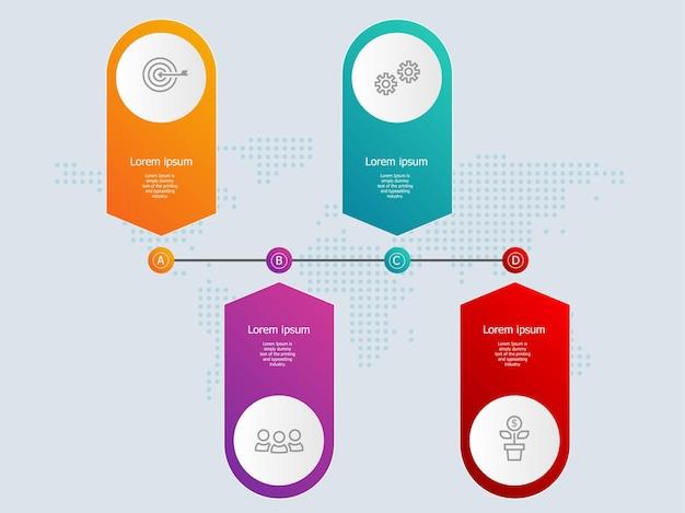 Абстрактная горизонтальная баннерная инфографика шкалы времени с бизнес-символами
