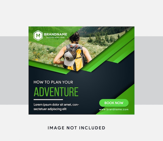Abstract horizontal banner for web page advertising with space for photo on top. adventure for sample of text. the colors are light green and black gradient.