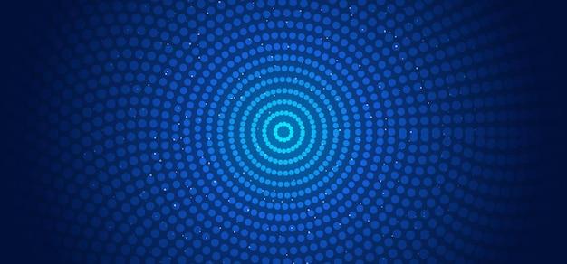 추상 가로 배너 웹 템플릿 원형 패턴 연결 점과 빛나는 입자 파란색 배경.