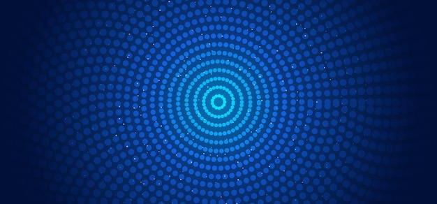 Abstract horizontal banner web template circles pattern connections dots and glowing particles blue background.