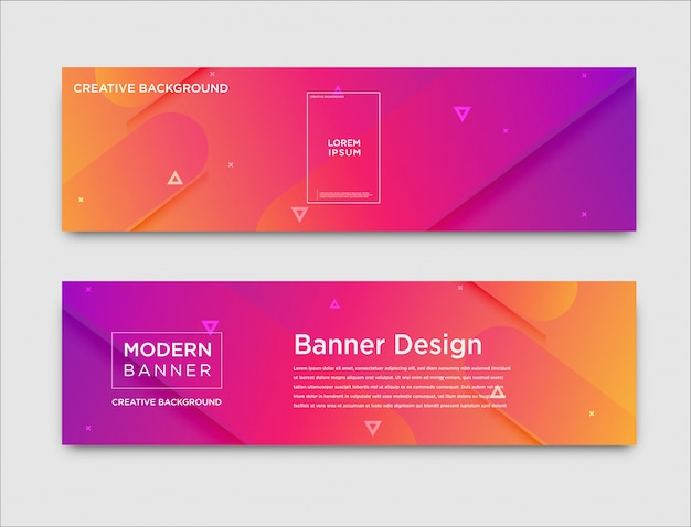 Abstract horizontal banners with gradient design