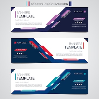 Abstract horizontal business banner template geometric shapes design