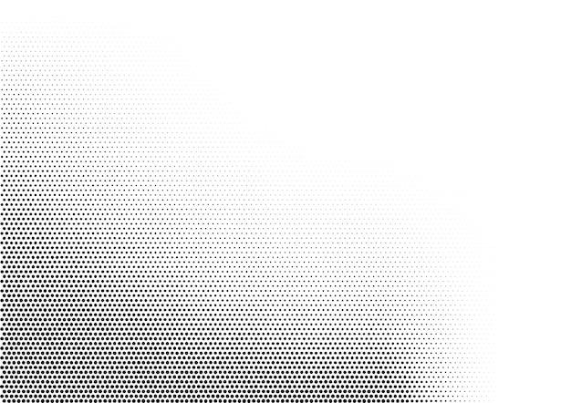 왼쪽 하단 각도에 축적된 다양한 크기의 점이 있는 추상 수평 하프톤 단색 배경. 그런 지 그라데이션 점선 텍스처입니다. 흑백 색상의 현대 벡터 일러스트입니다.