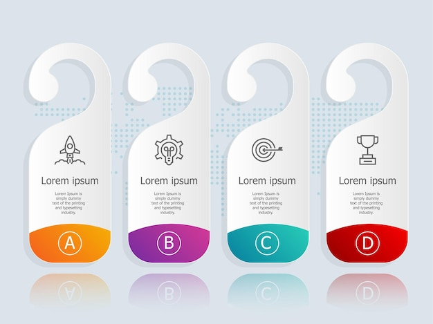 Абстрактная горизонтальная этикетка инфографика с бизнес-символами иллюстрации