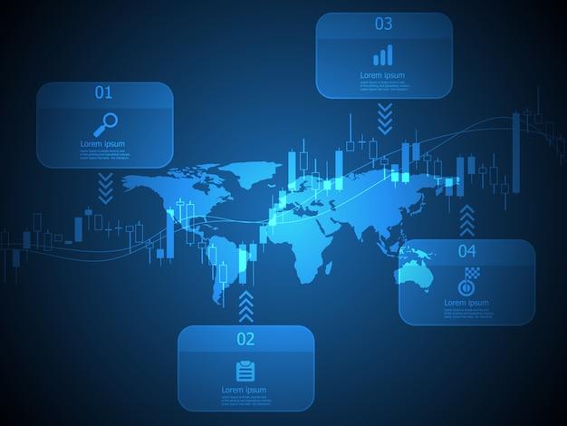 抽象的な水平タイムラインインフォグラフィック世界地図とキャンドルグラフのベクトルの背景を持つ4つのステップ