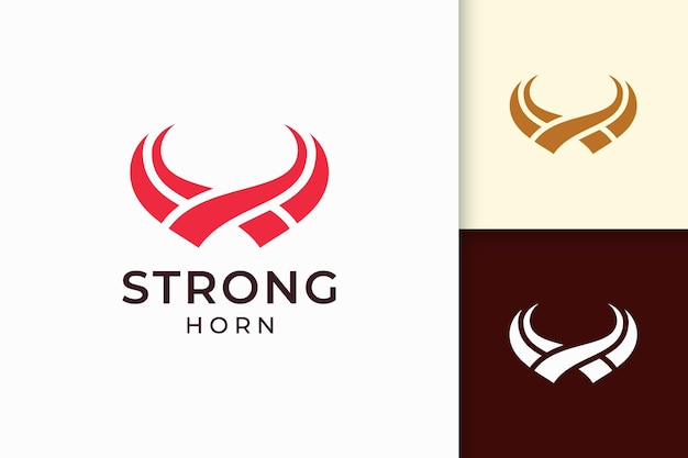 無地の赤い色の抽象的なホーンのロゴ