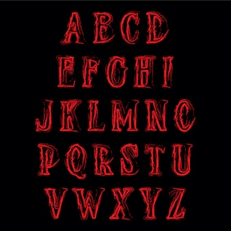 Abstract horror alphabet. vector