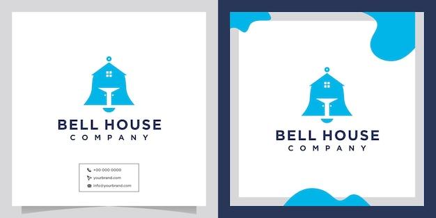 Abstract house bell icon vector logo design