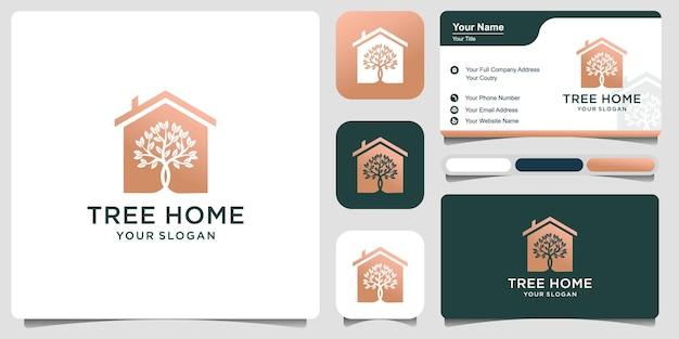 抽象的な家の葉の木アートのロゴデザインと名刺プレミアムベクトル
