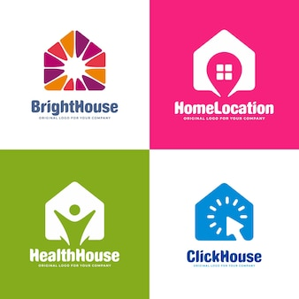 Abstract house logo design collection with four different concept