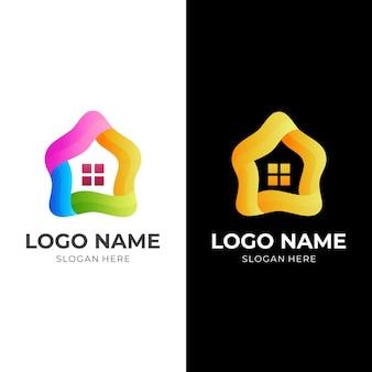 3d 화려한 스타일의 추상 집 로고 디자인