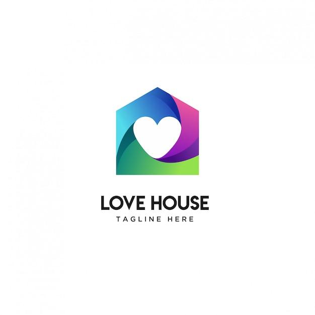 Abstract house love logo design