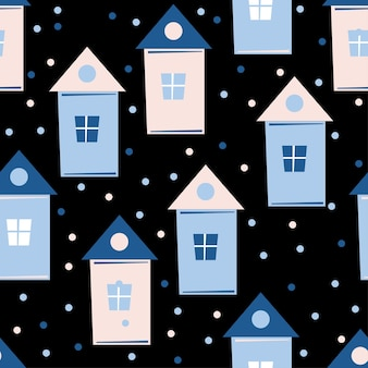 Abstract house seamless pattern background. childish handmade craft for design card, new year wallpaper, christmas album, invitation, holiday wrapping paper, textile fabric, bag print, t shirt etc.