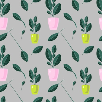 Abstract houseplants seamless pattern vector endless texture on grey background colorful pattern