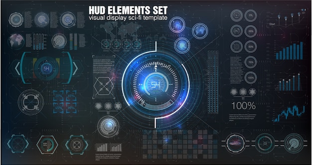 Abstract hud. futuristic sci fi modern user interface set.