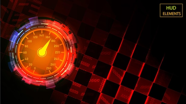 Abstract hud interface of luminous futuristic elements in the form of a scale with an arrow. eps 10