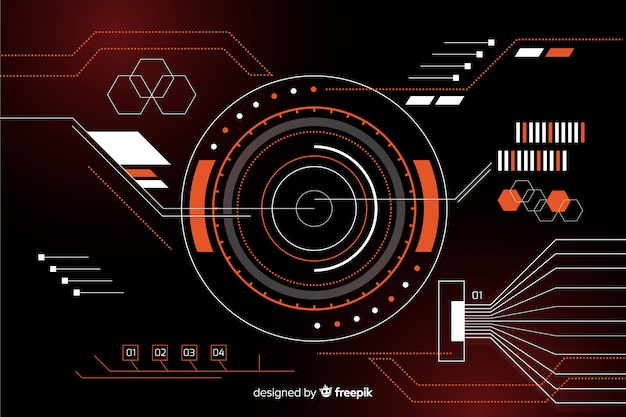 Abstract hud technology black background