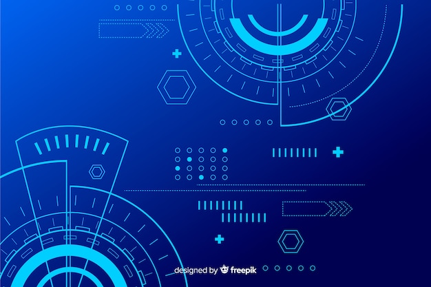Abstract hud technology blue background