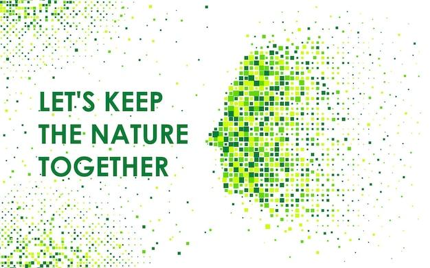 ピクセルモザイクのプロファイルで人間の顔を抽象化します。自然と世界の保護の概念。ミニマリストのイラストデザイン