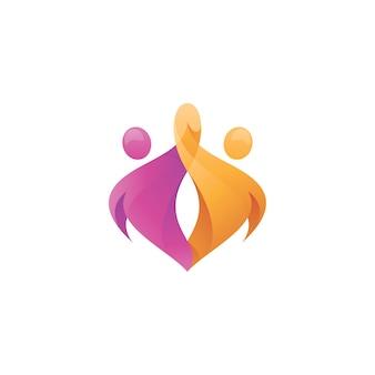Abstract human figure holding hand logo