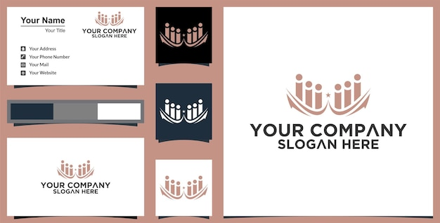 Abstract human logo and business card design template
