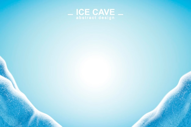 Abstract ice cave background with copy space in 3d illustration