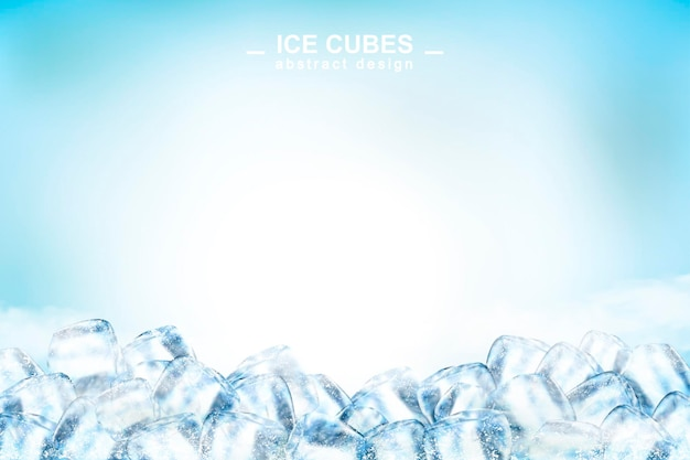Abstract ice cubes background with copy space in 3d illustration