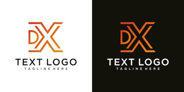 頭文字dxアイコンロゴデザインテンプレートの抽象的なアイコン