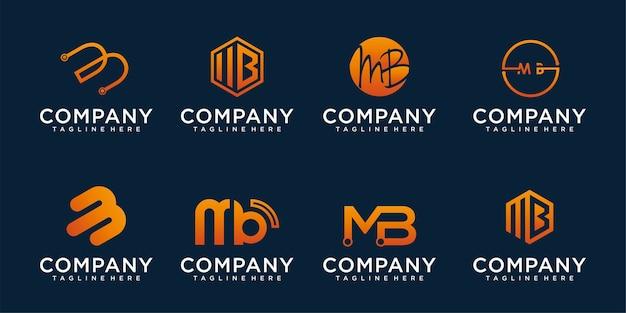 문자 b, mb 아이콘 로고 디자인 서식 파일에 대 한 추상 아이콘