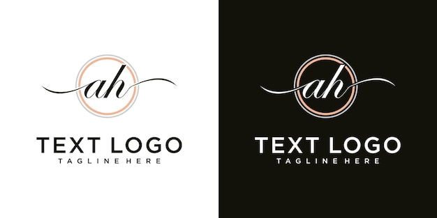 Abstract icons for letter a h  ah icon logo design template