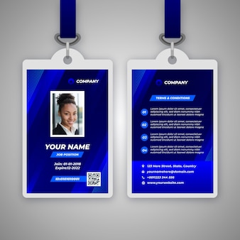 Abstract id badge template with photo