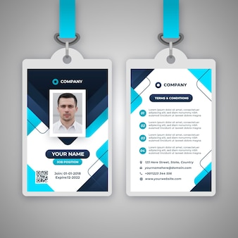 Abstract id badge template with picture