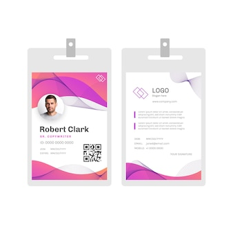 Abstract id badge with photo